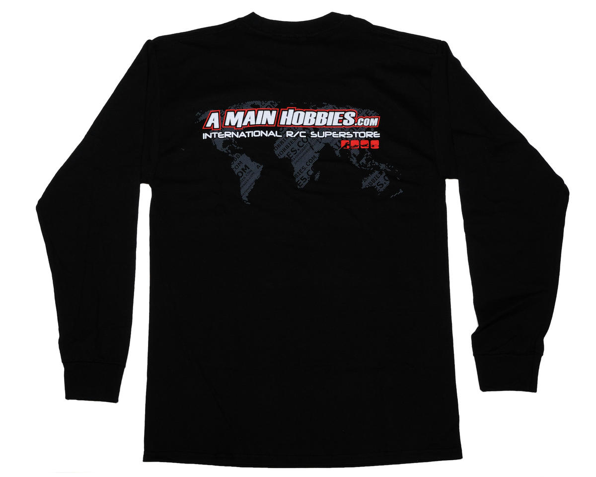 "AMain Black ""International"" Long Sleeve T-Shirt (2X-Large)"