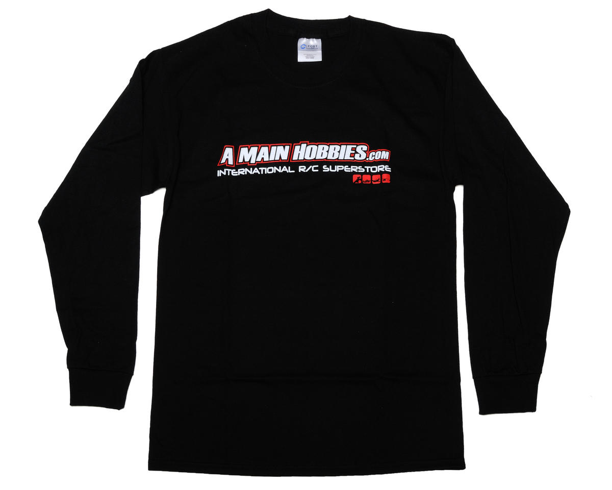 "AMain Black ""International"" Long Sleeve T-Shirt (Large)"