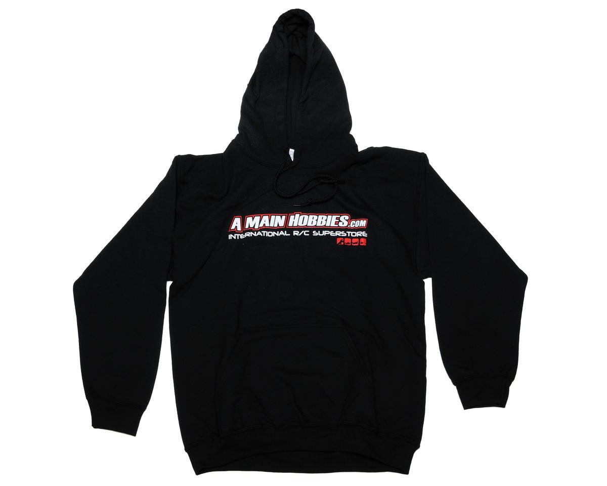 "AMain Black ""International"" Hooded Sweatshirt (Hoody) (3X-Large)"