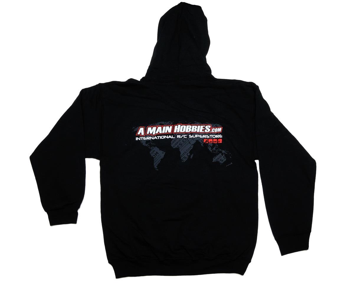 """AMain Black """"International"""" Hooded Sweatshirt (Hoody) (Large)"""