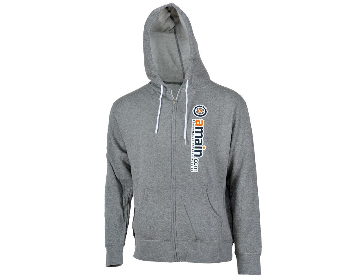 """AMain """"Gears"""" Zip-Up Hooded Sweatshirt (Gray) (M)"""