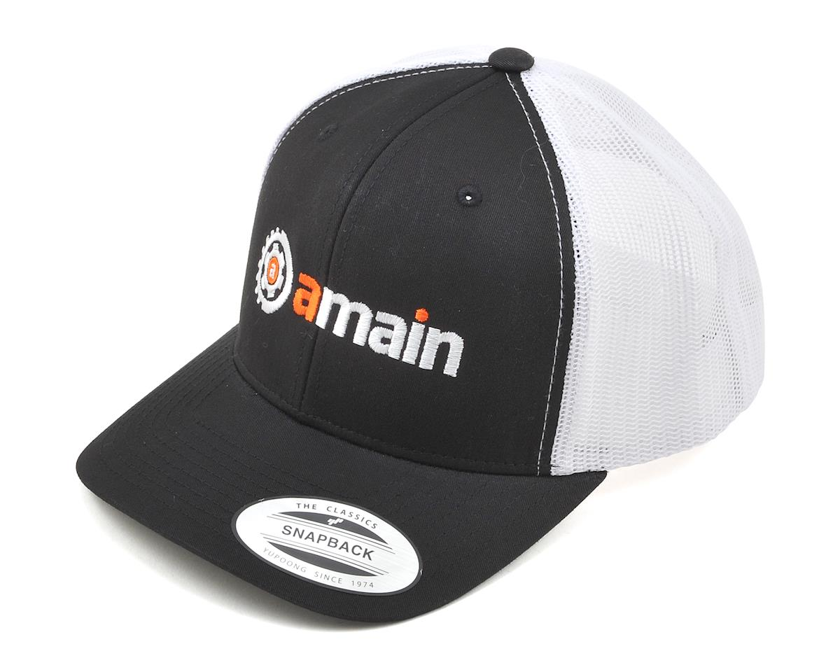 AMain Trucker Hat w/Gears Logo (Black) (One Size Fits Most)