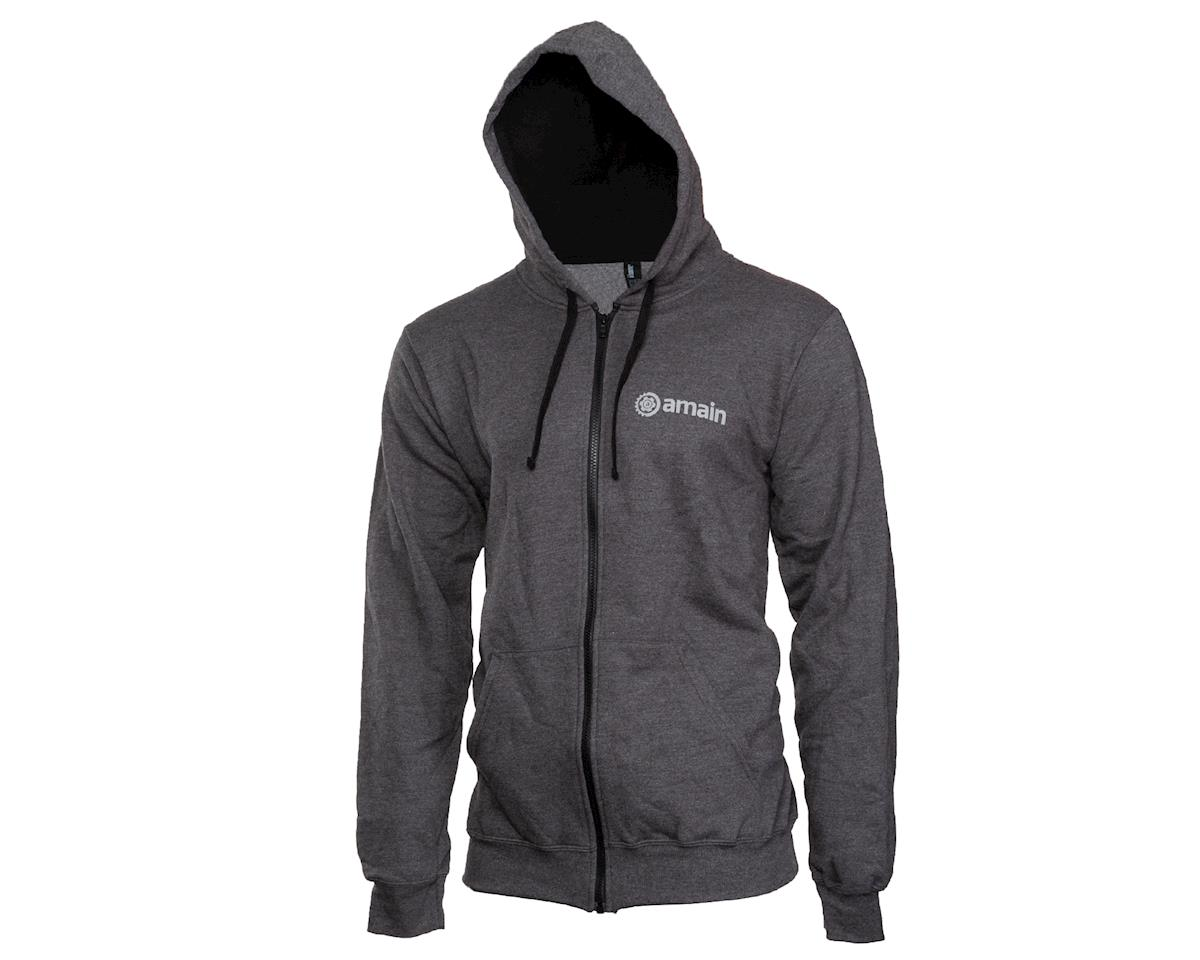 AMain Zip-Up Hoodie Sweatshirt (Dark Heather) (L)