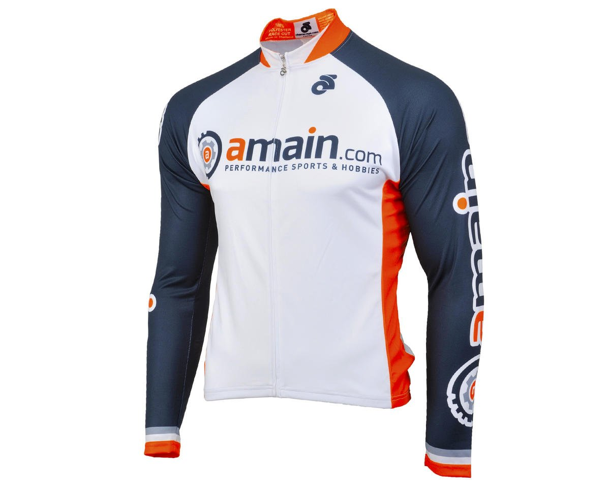 AMain Men's Tech Long Sleeve Cycling Jersey (Race Cut) (2XL)