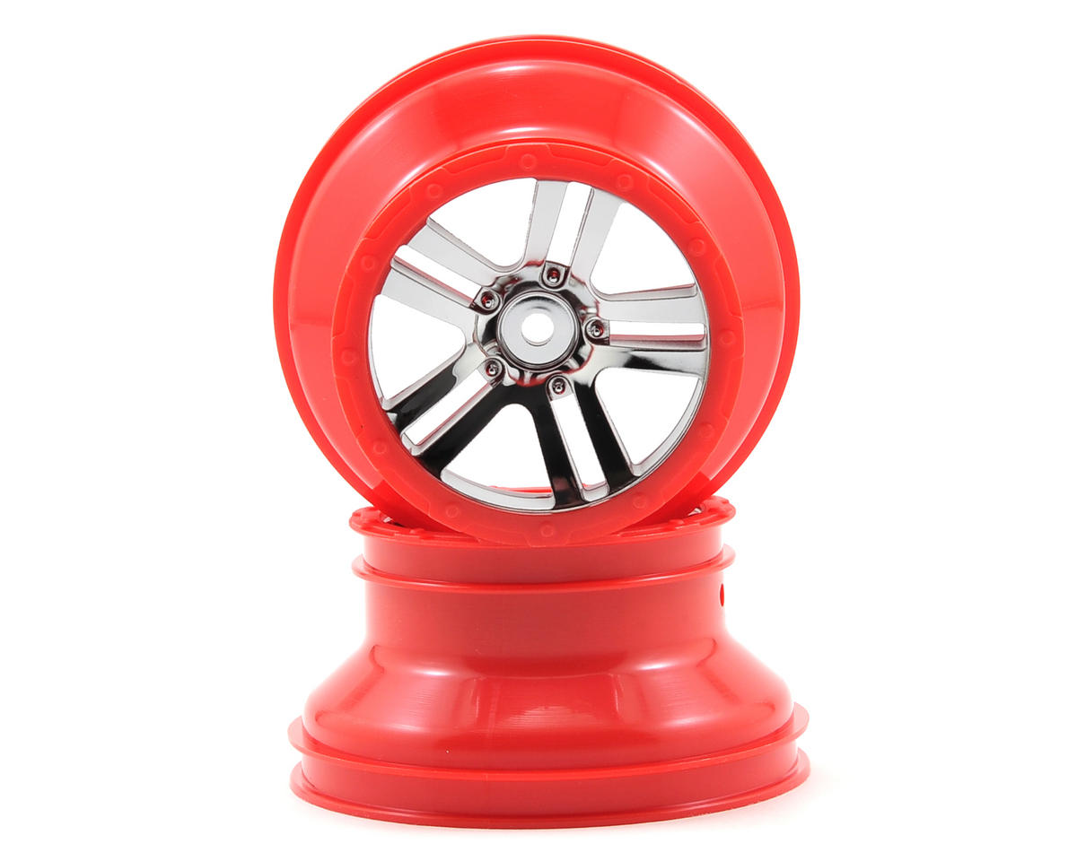 Fury Front/Rear Wheel (2) (Chrome/Red) by Arrma