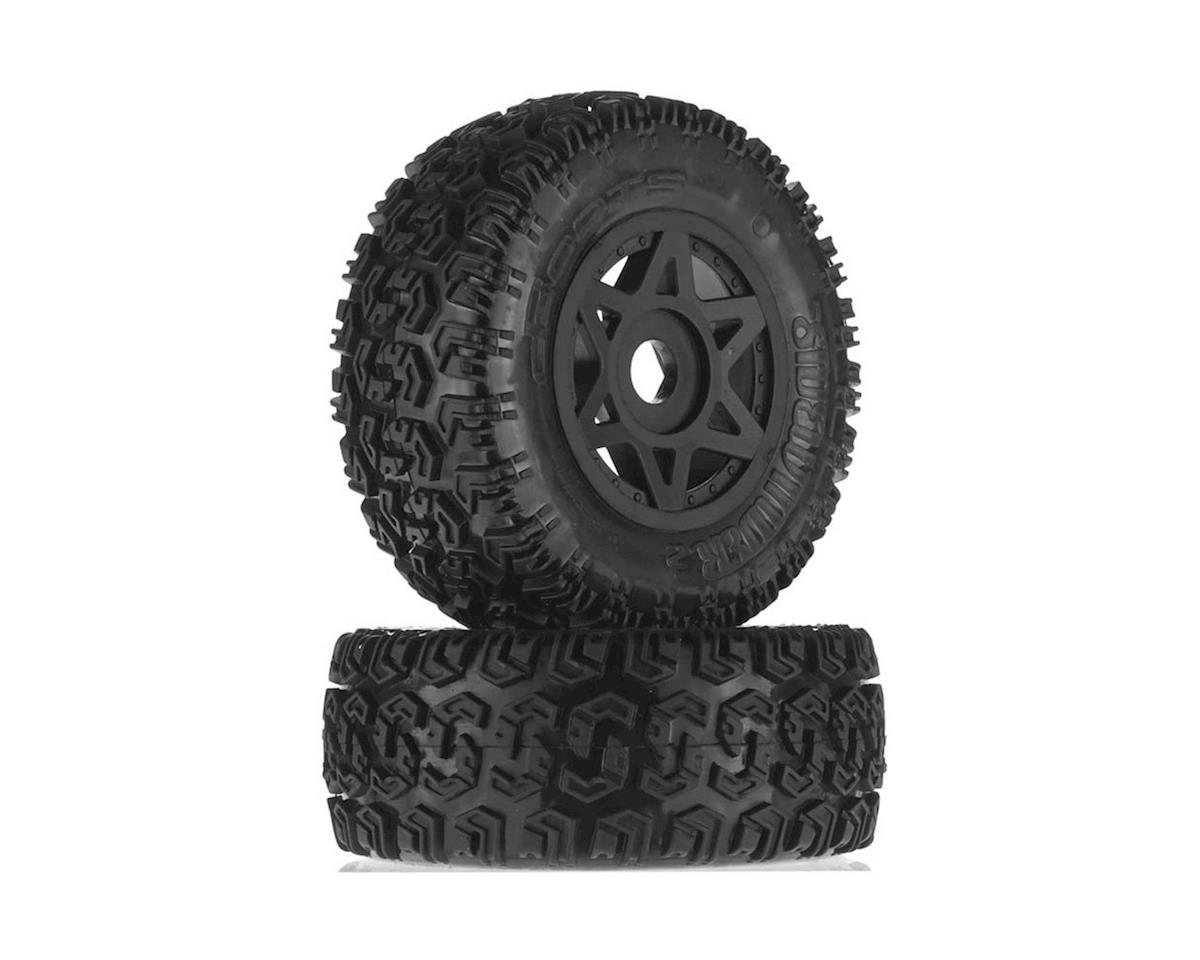 Arrma Fury 6S Glued Dboots Sidewinder Tires & Wheel Set (Black) (2)