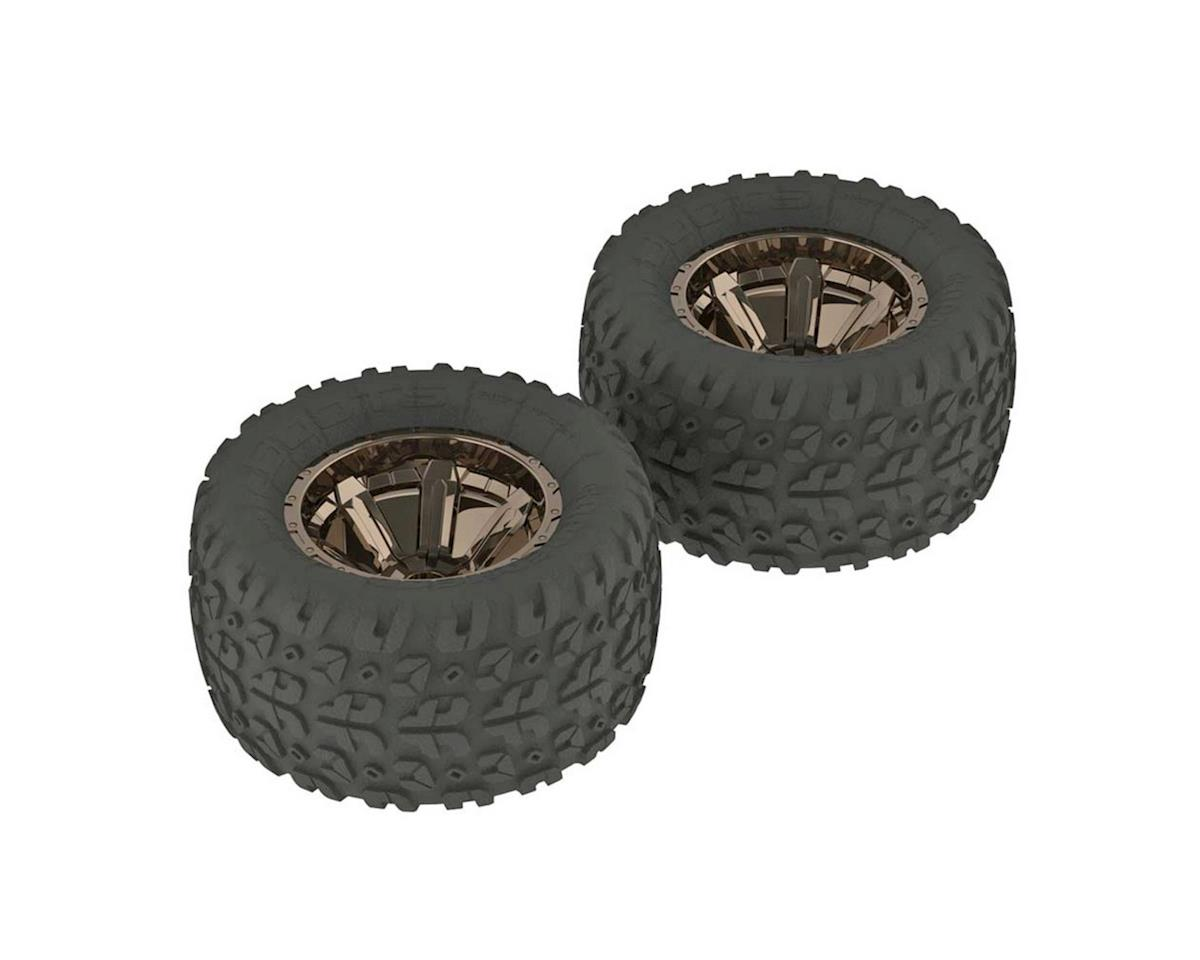 Arrma Misc. Parts Copperhead MT Tire/Wheel GLU Black/Chrome (2)
