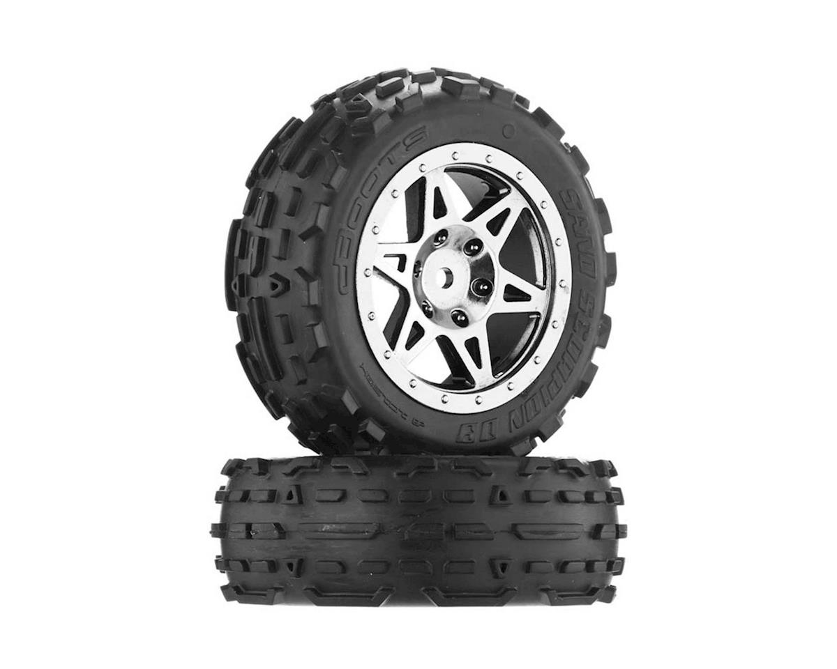 Arrma Sand Scorpion DB Tire/Wheel Glu Blk/Chrm Fr(2)