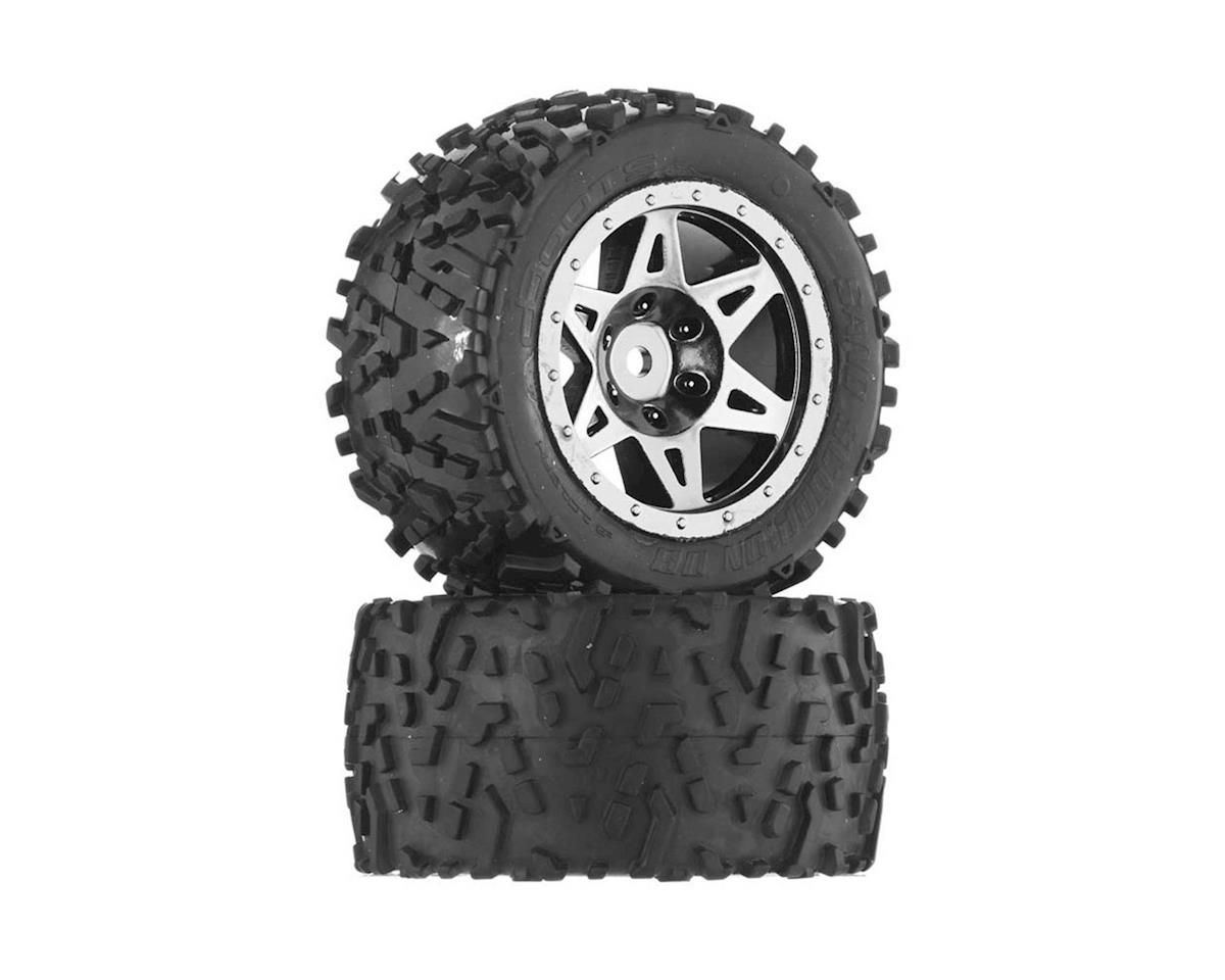 Arrma Sand Scorpion DB Tire/Wheel Glu Blk/Chrm Re(2)