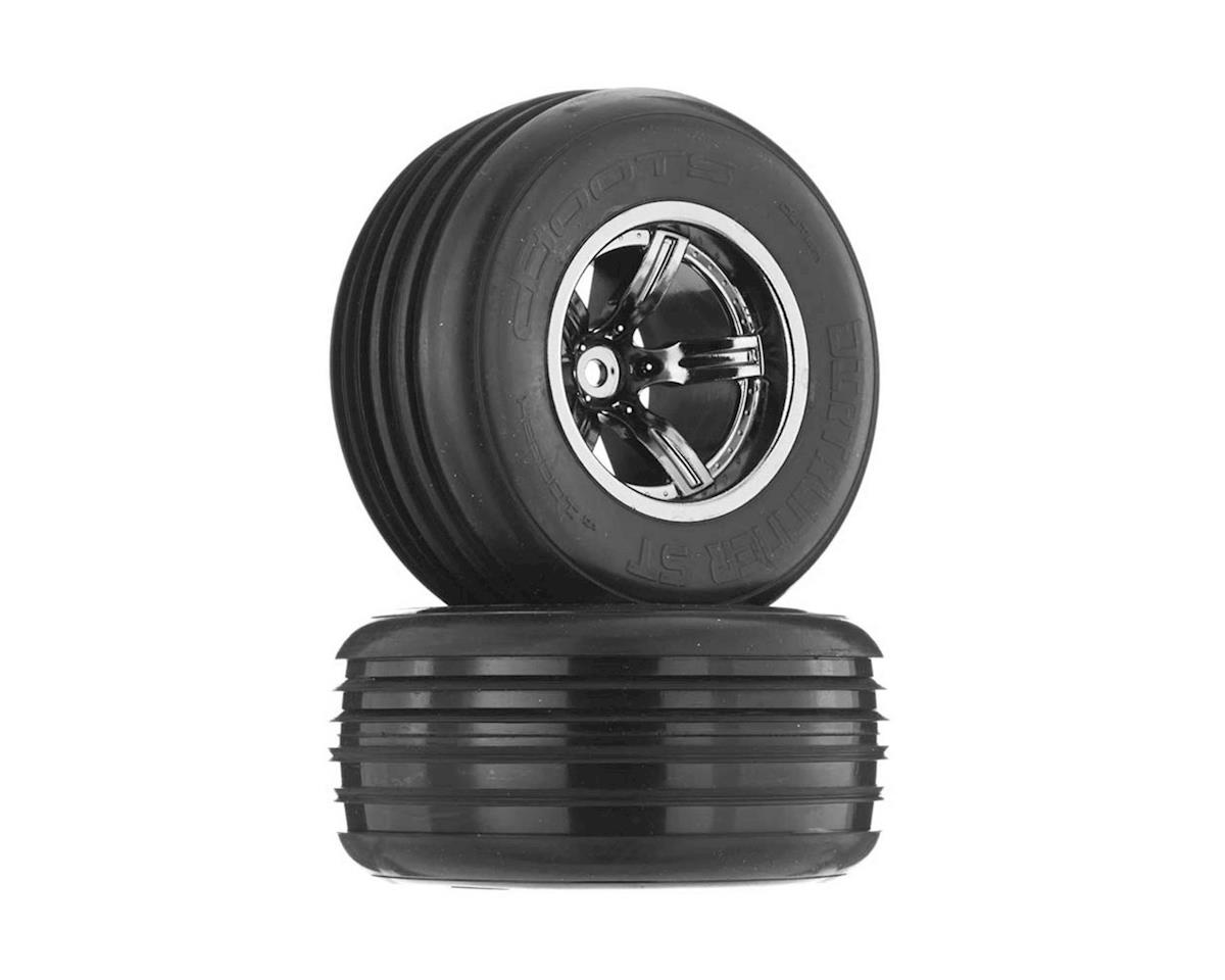 Arrma AR550008 Dirtrunner ST Tire/Whl Glued Blck/Chrm Fr (2)