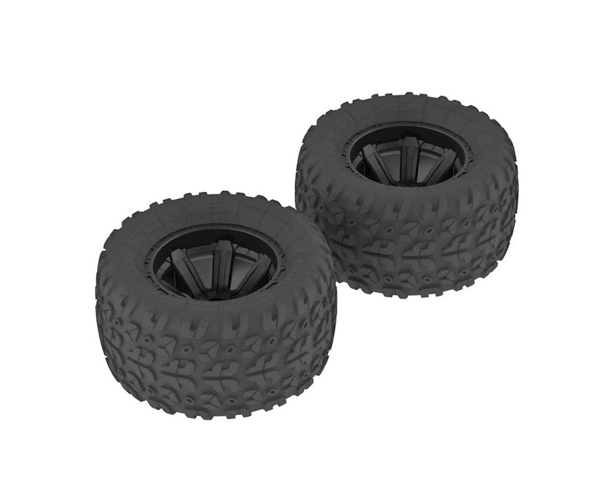 Arrma Copperhead MT Tire/Wheel Glued Black (2)