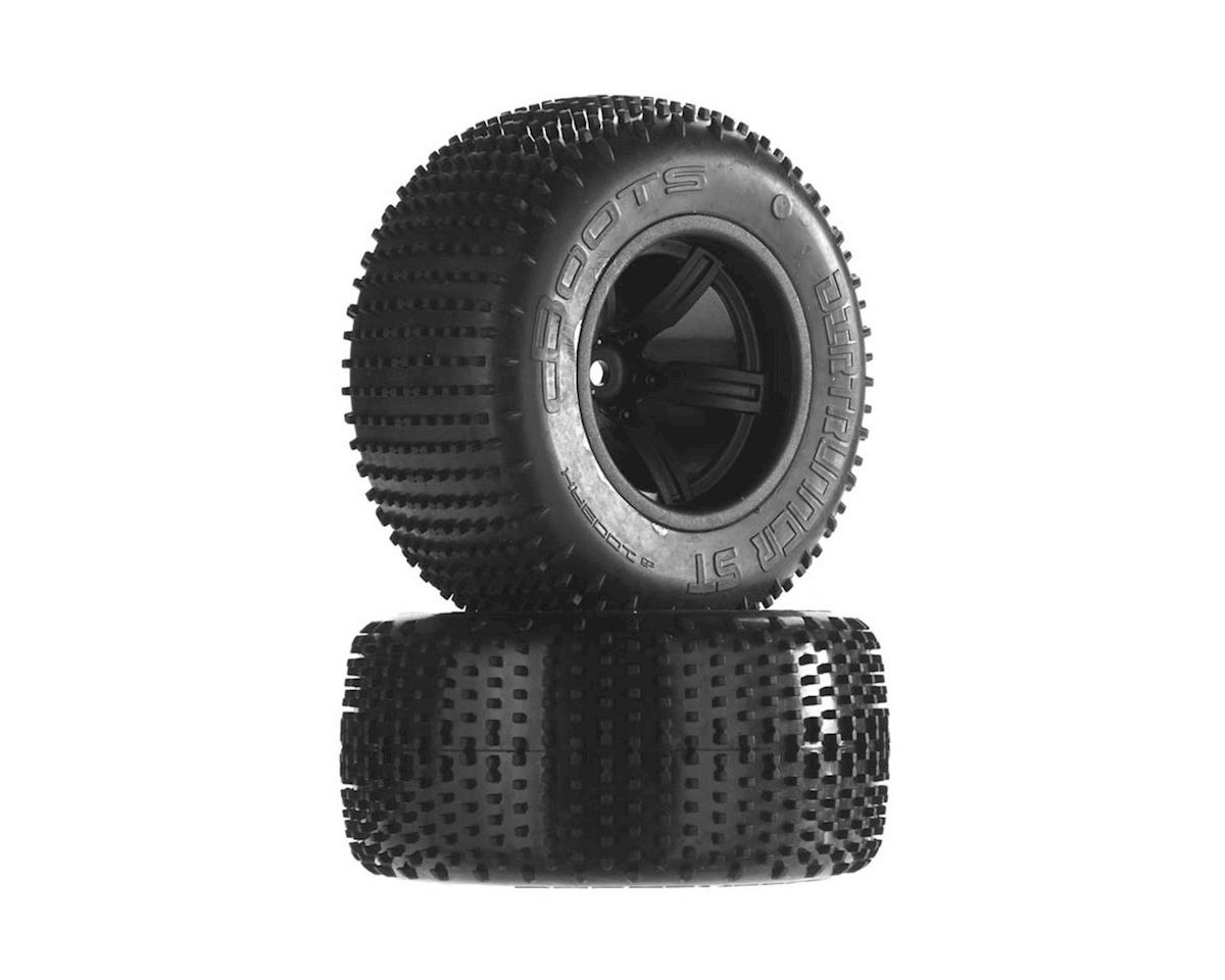 Arrma Dirtrunner ST Tire/Wheel Glued Black Rear (2)