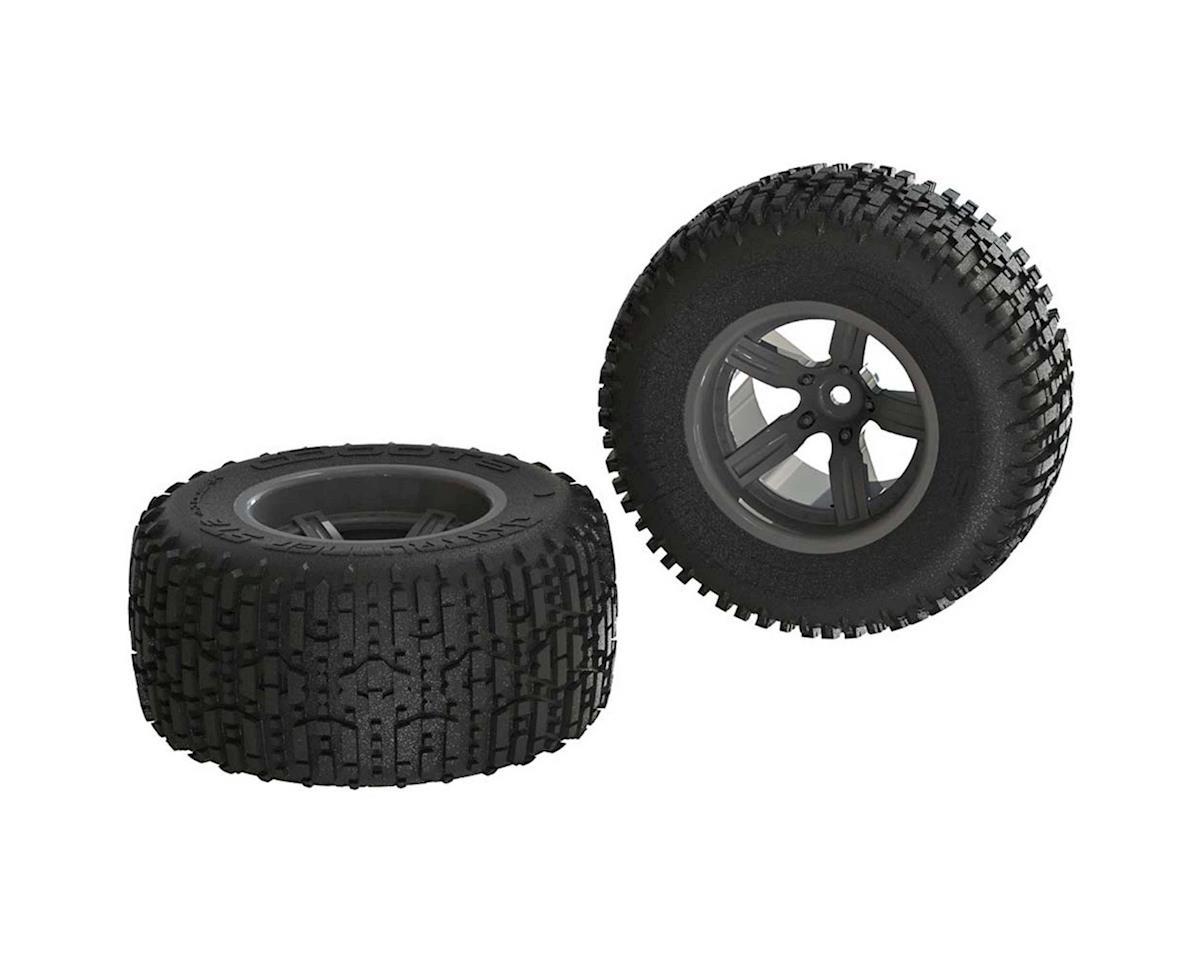 Arrma Dirtrunner ST Rear Tire Set Glued Black (2)