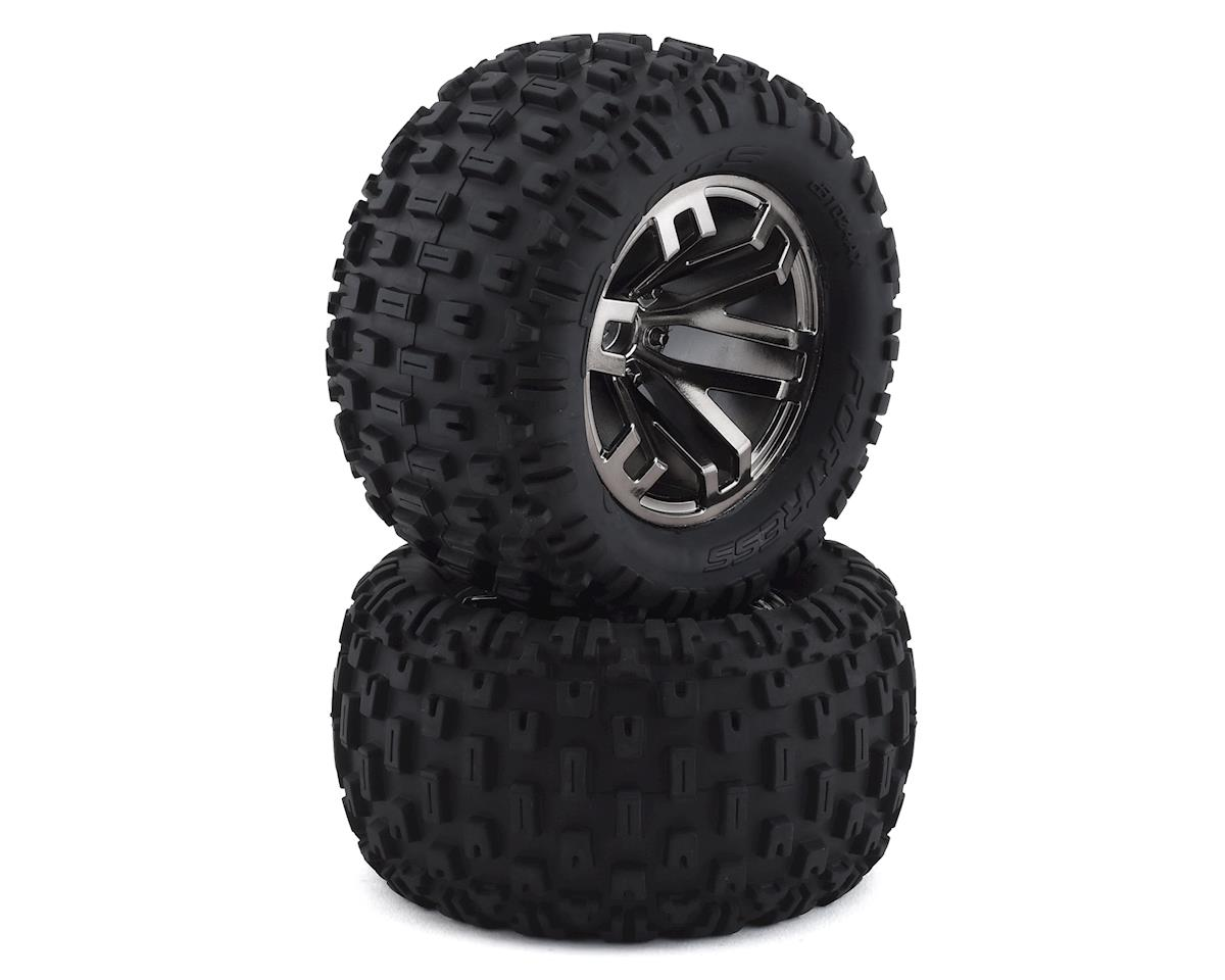Arrma AR550045 dBoots Fortress MT Tire Set Glued Blk Chrm (2)