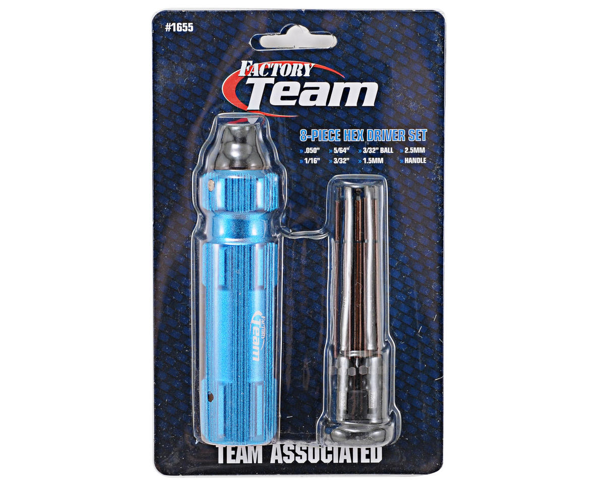 "Team Associated Factory Team 8 Piece 1/4"" Drive Hex Driver Set w/Handle"