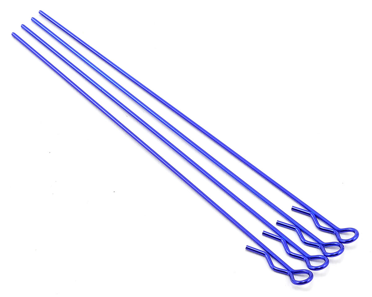 Team Associated RC10 GT Factory Long Body Clips (Metallic Blue) (4)