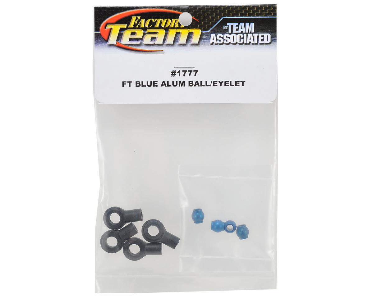 Team Associated Factory Team Shock Ball Ends with Aluminum Eyelets (Blue)