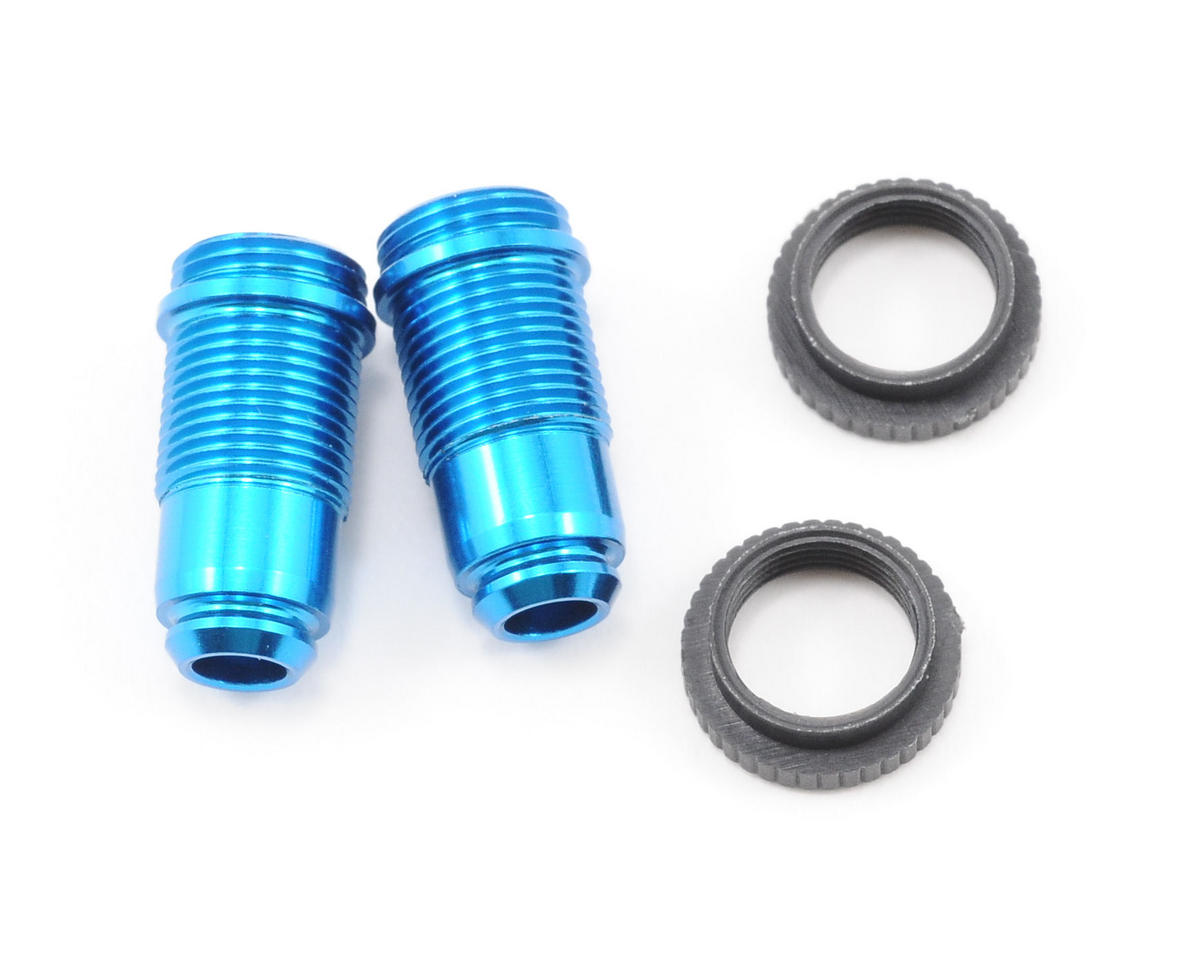 Team Associated RC18B Factory Aluminum Front Threaded Shocks w/Collar (Blue) (2)