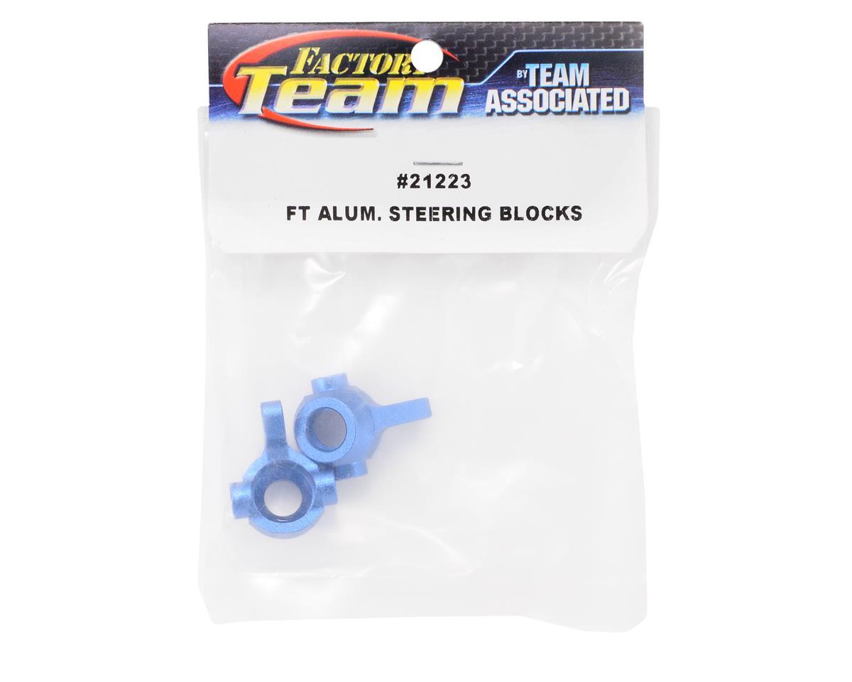 Factory Team Aluminum Steering Blocks (Blue) (2) by Team Associated