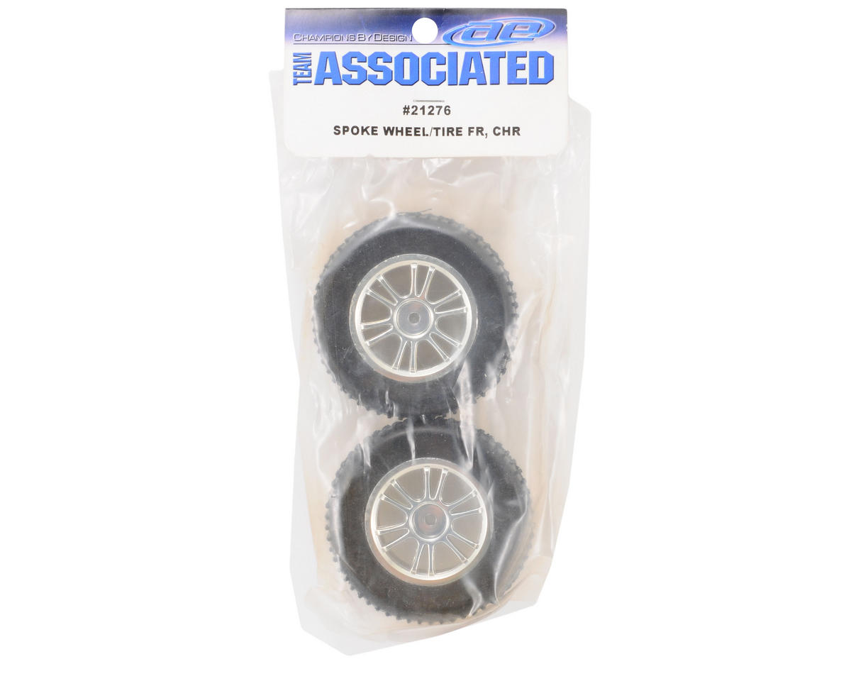 Team Associated Pre-Mounted Front Spoked Wheel & Tire Set (2) (Chrome)