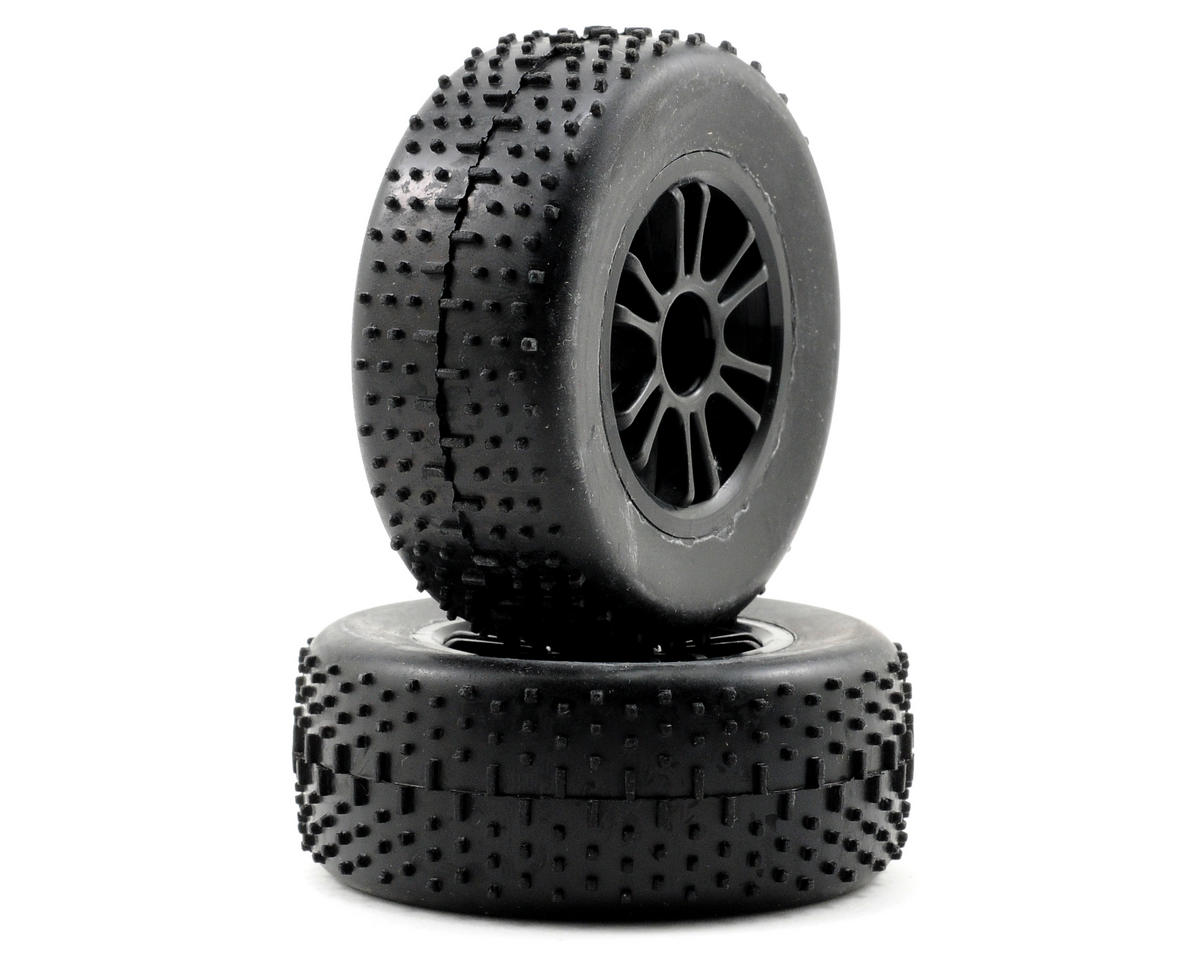 Team Associated RC18T Pre-Mounted Front Spoked Wheel & Tire Set (2) (Black)