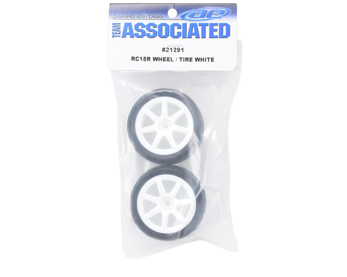 Team Associated Pre-Mount Wheels/Tires (2) (White)