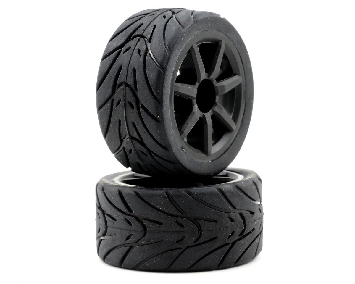 Pre-Mount Wheels/Tires (2) (Black) by Team Associated