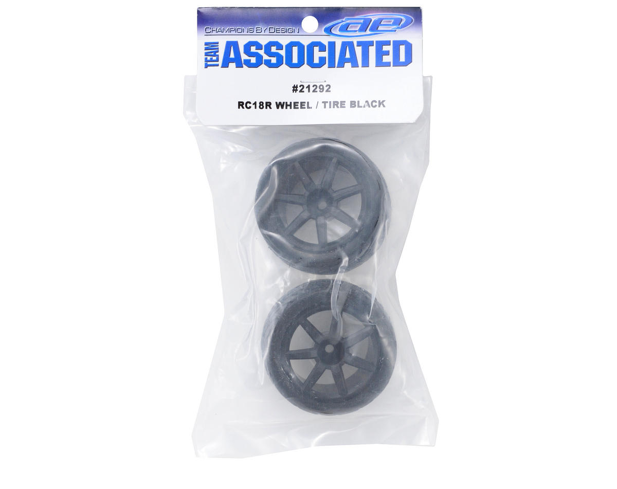 Team Associated Pre-Mount Wheels/Tires (2) (Black)