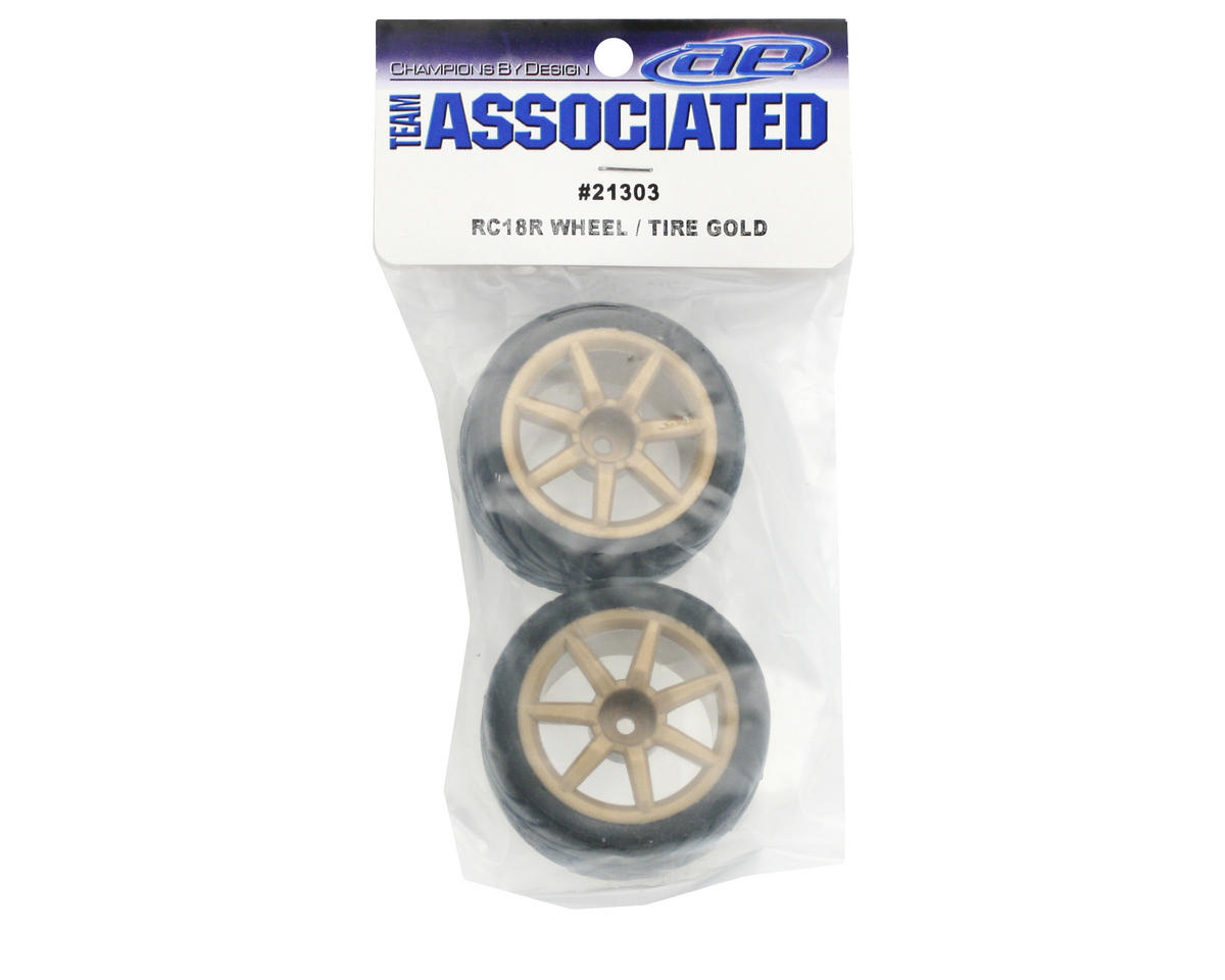 Team Associated Pre-Mount Wheels/Tires (2) (Gold)