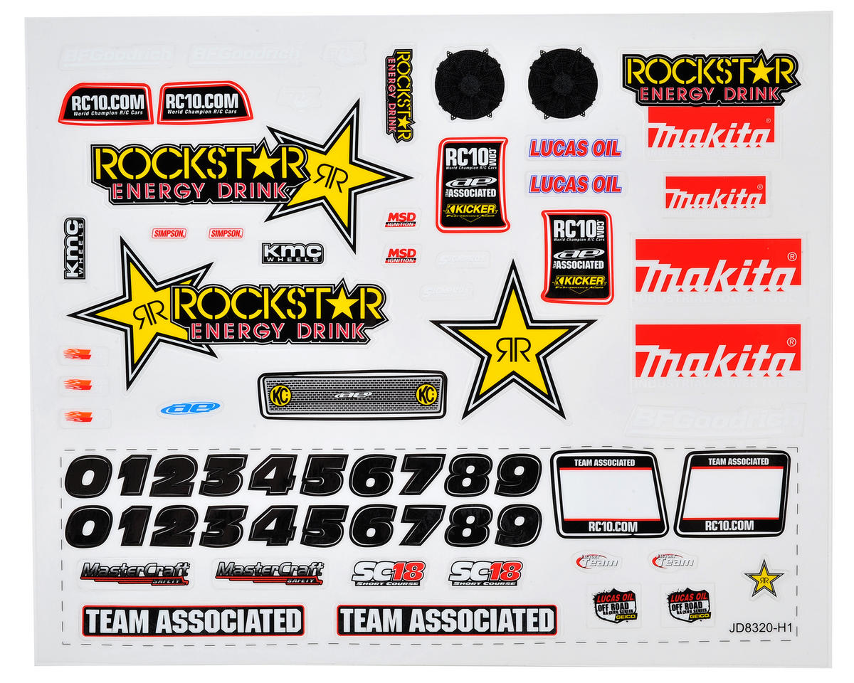 "Team Associated SC18 ""Rockstar Makita"" Decal Sheet"