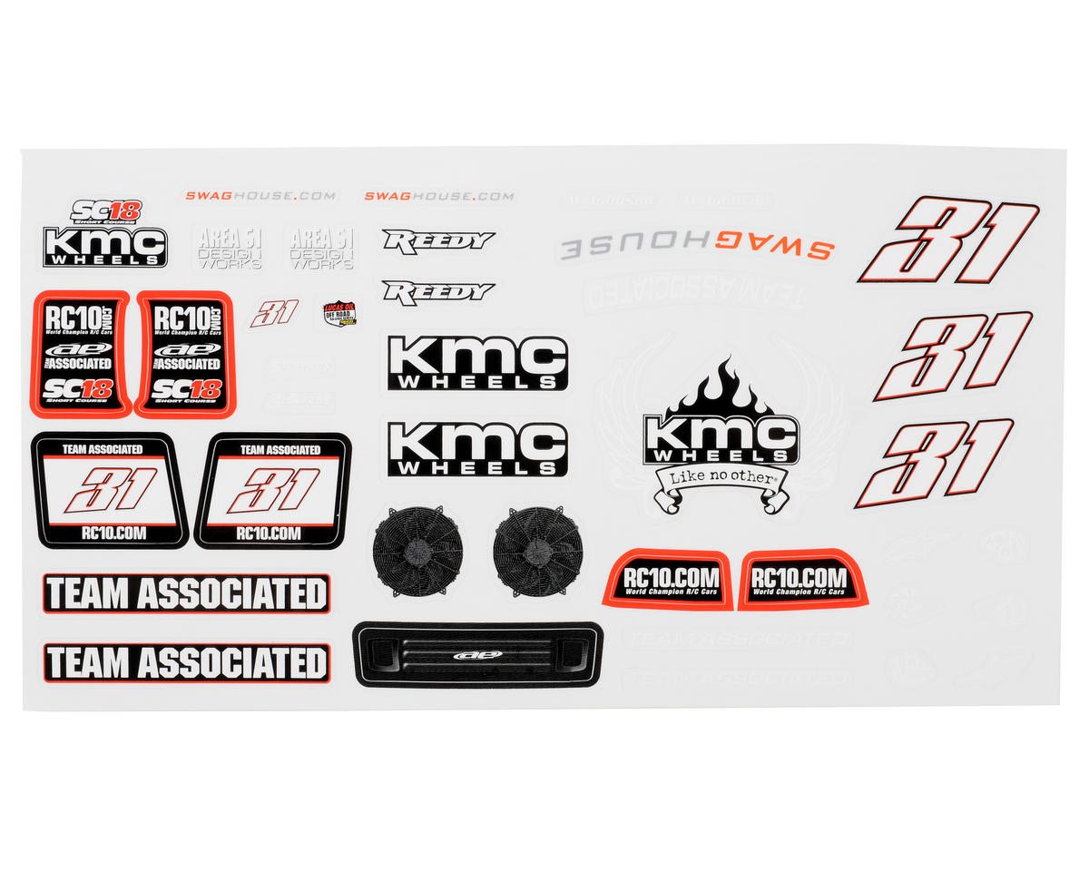 "Team Associated SC18 ""KMC"" Decal Set"