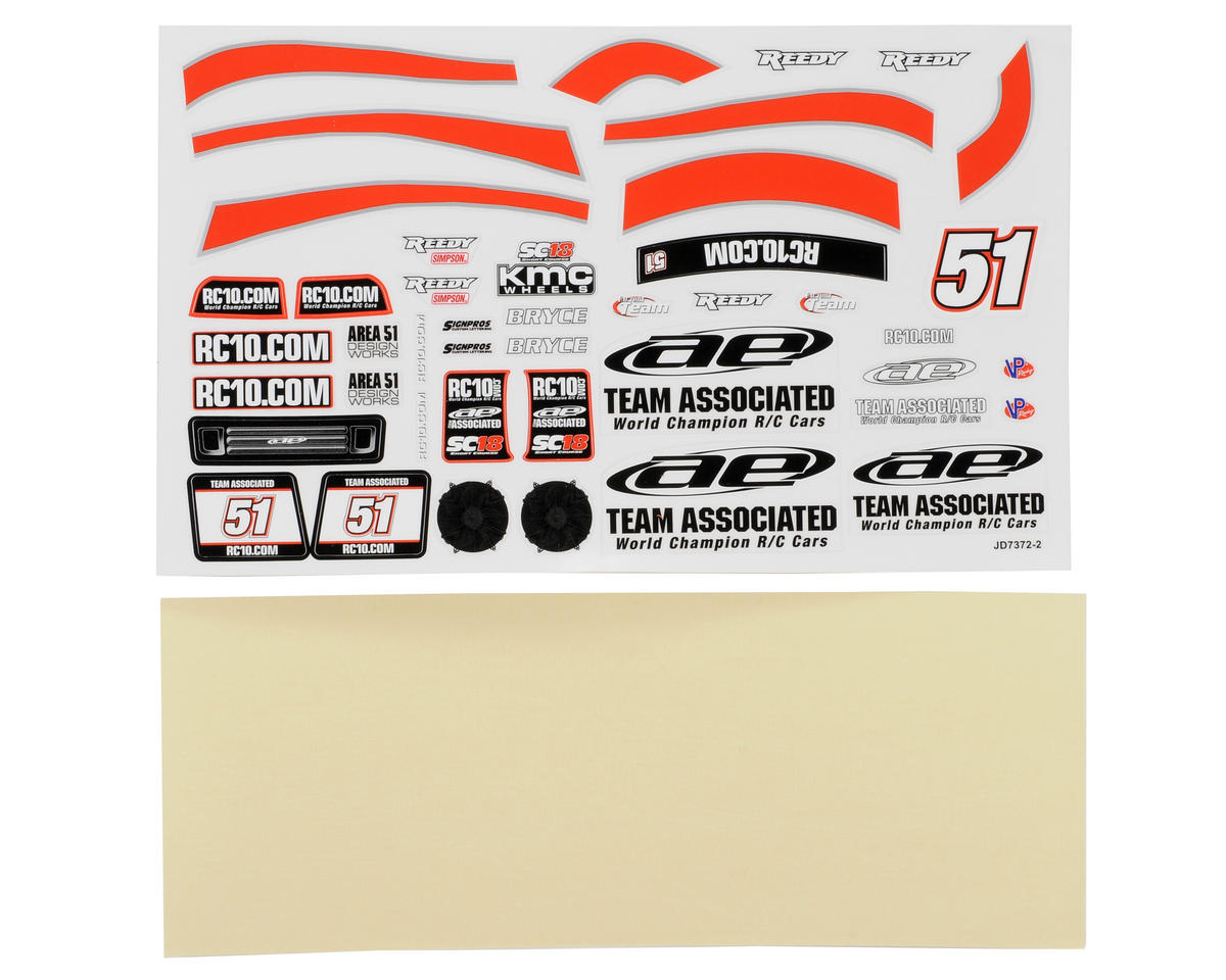 "Team Associated SC18 ""AE"" Decal Set"