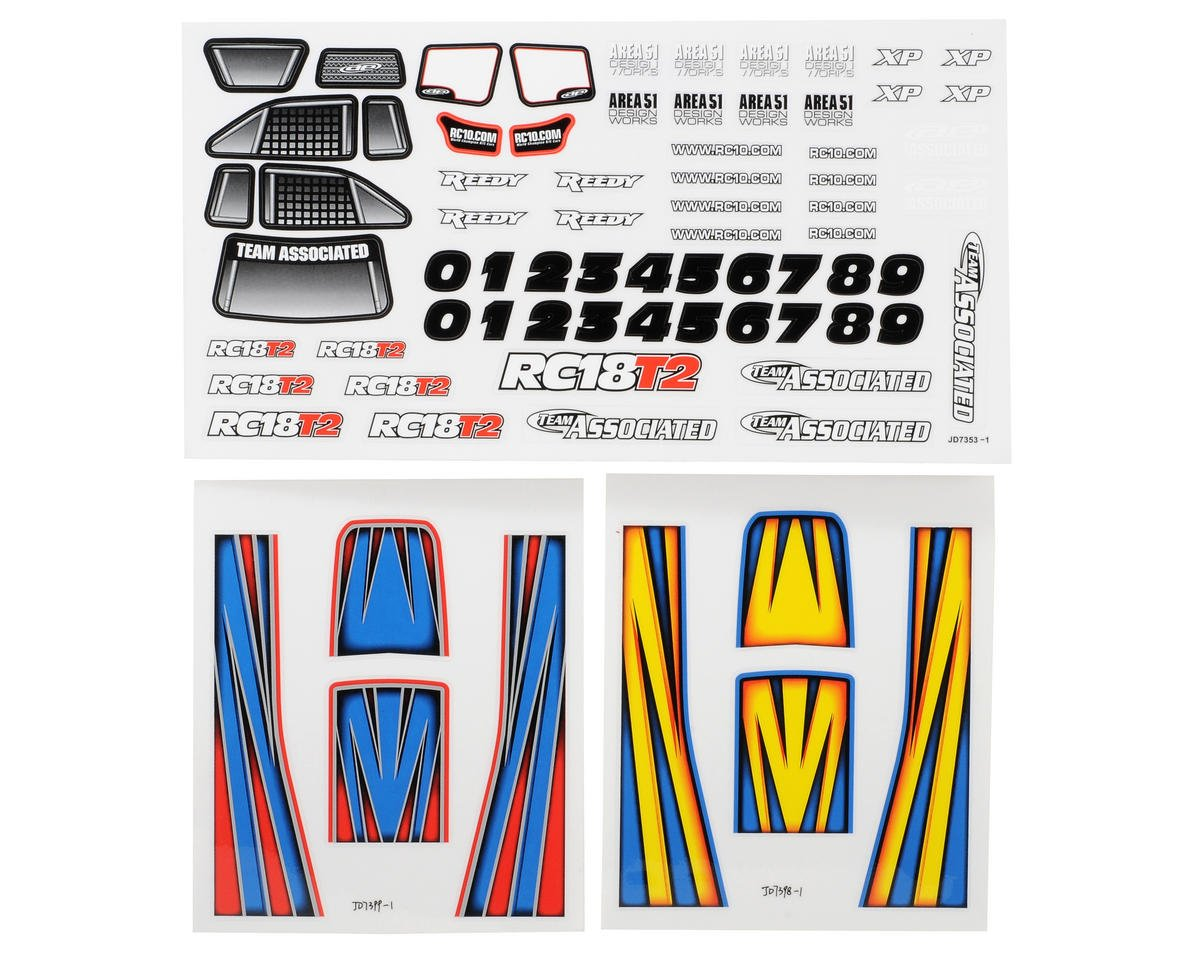 Team Associated 18T2 Decal Sheet