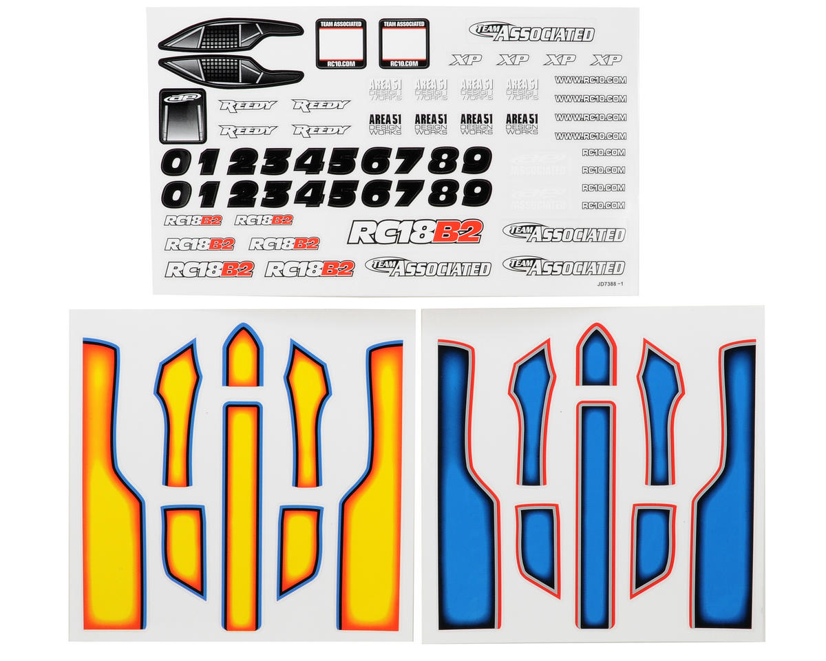 Team Associated 18B2 Decal Sheet