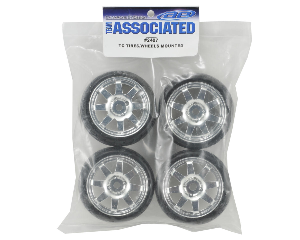 Team Associated Pre-Mounted 1/10 On-Road Tires w/8 Spoke Wheels (4) (Chrome)