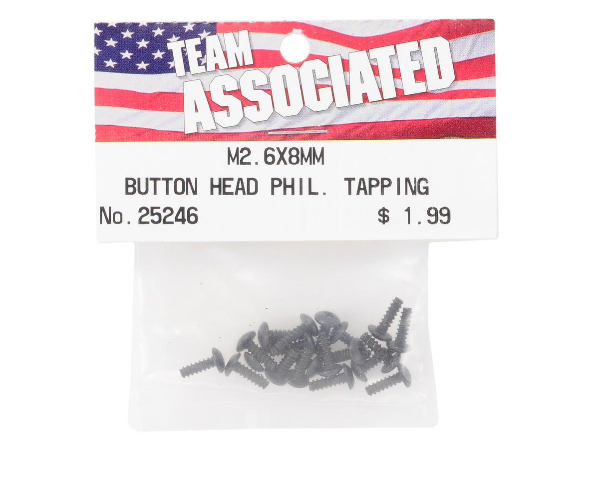 Team Associated 2.6x8mm Button Head Phillips Tap Screw (20)