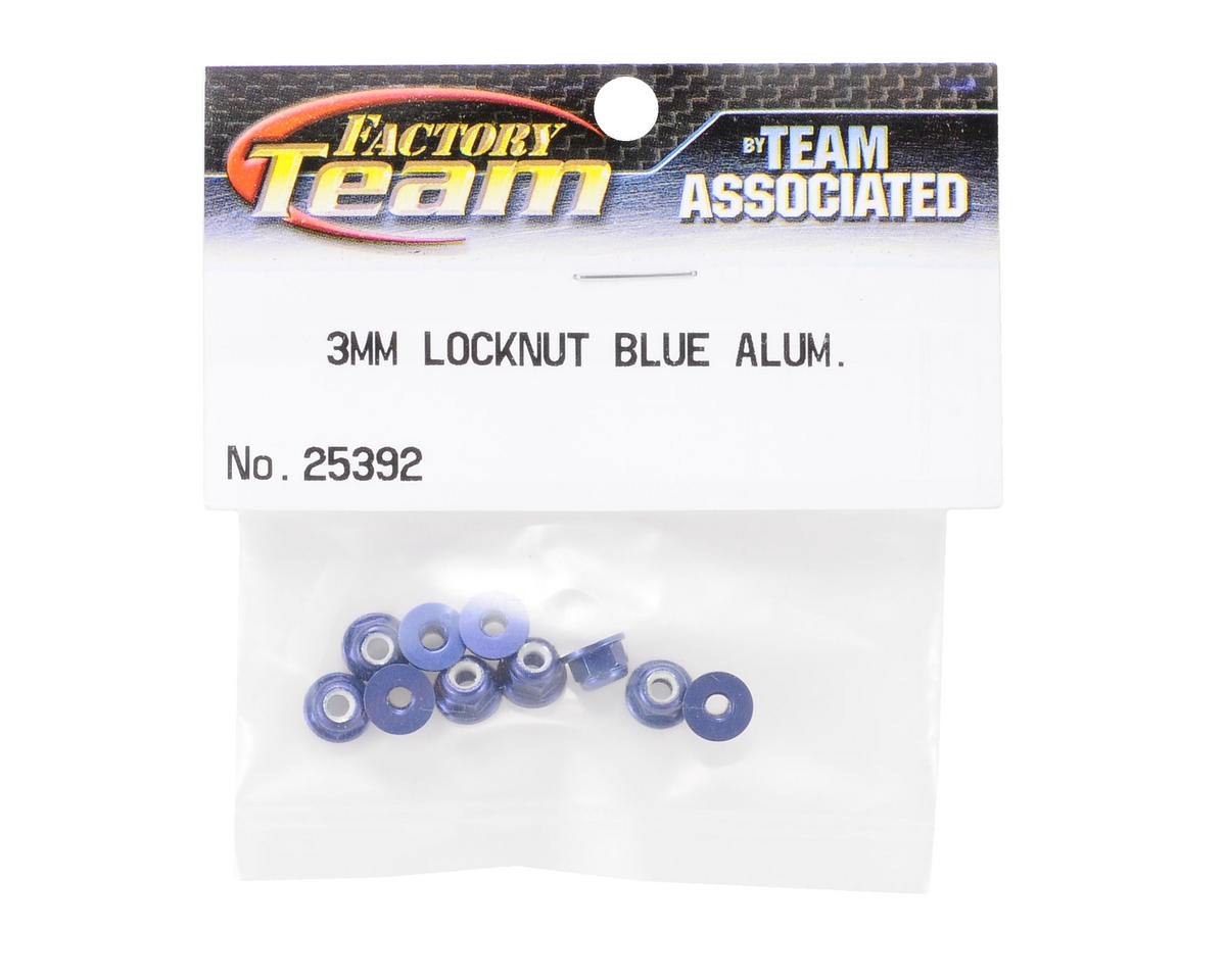 Team Associated Factory Team 3mm Aluminum Flanged Locknut (Blue) (10)