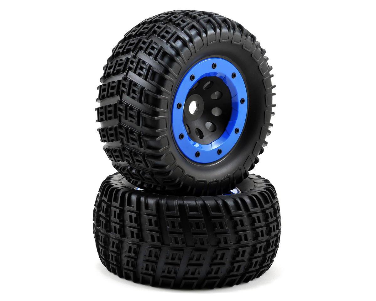 Team Associated Rival Pre-Mounted Tire & Wheel Set (2) (Blue)