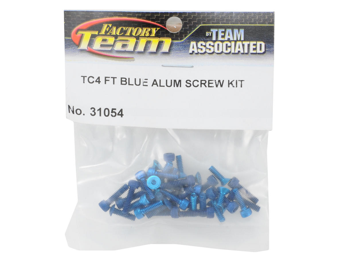 Team Associated Factory Team Aluminum Screw Kit (Blue) (TC4)