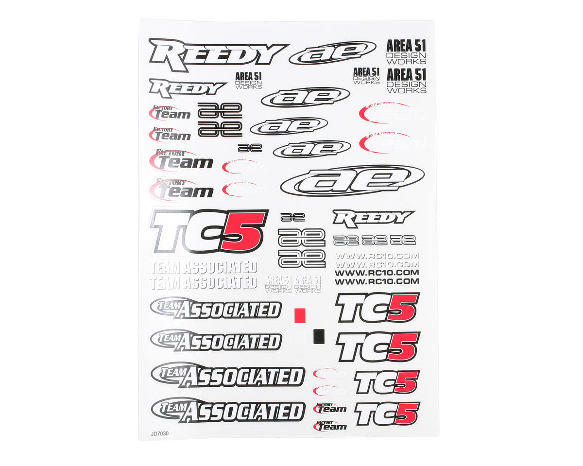 Team Associated TC5 Sticker Sheet
