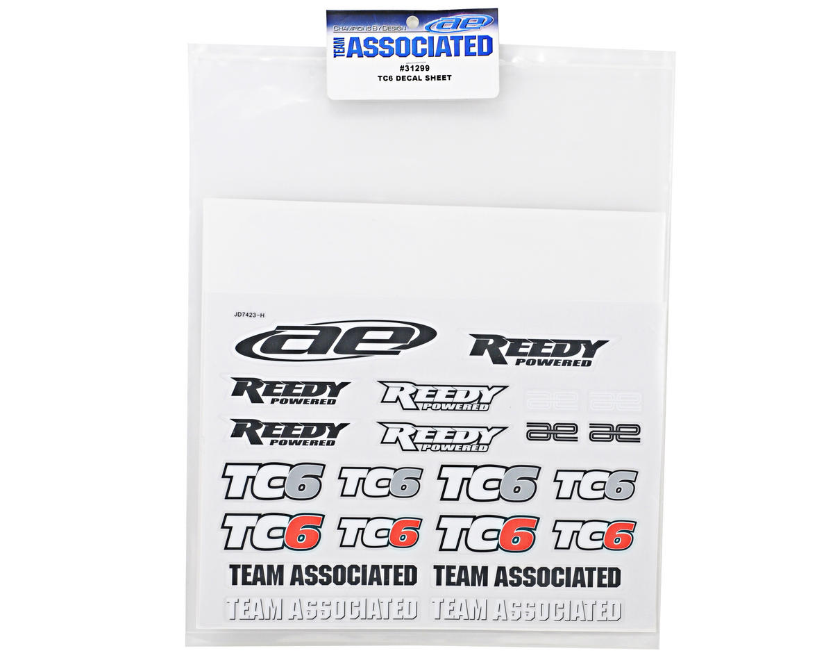 Team Associated TC6 Decal Sheet
