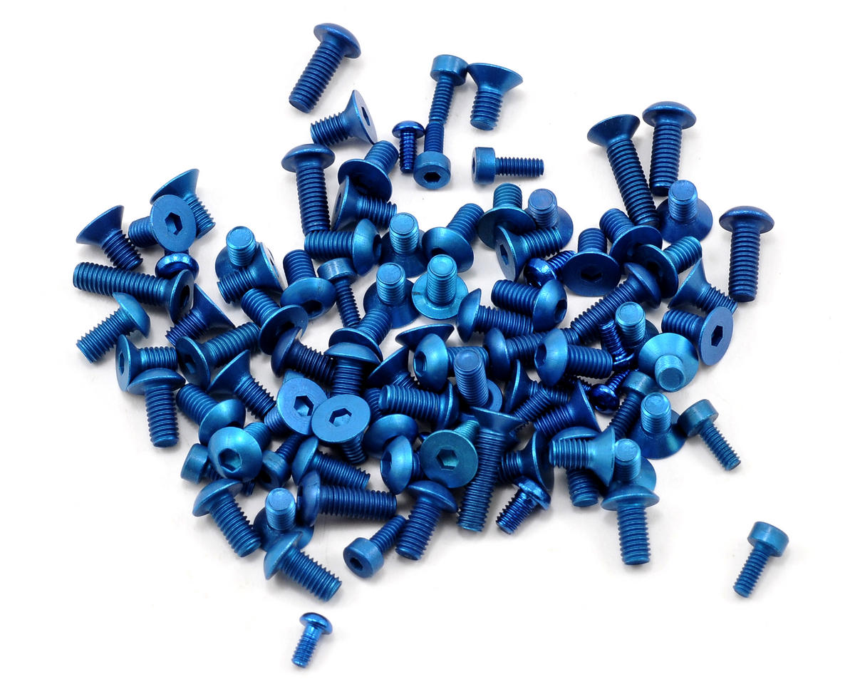 Team Associated TC6 Factory Aluminum Screw Kit (Blue) (TC6)