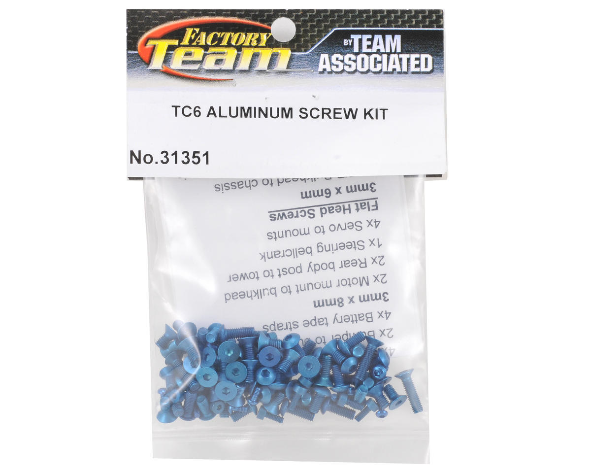 Team Associated Factory Team Aluminum Screw Kit (Blue) (TC6)