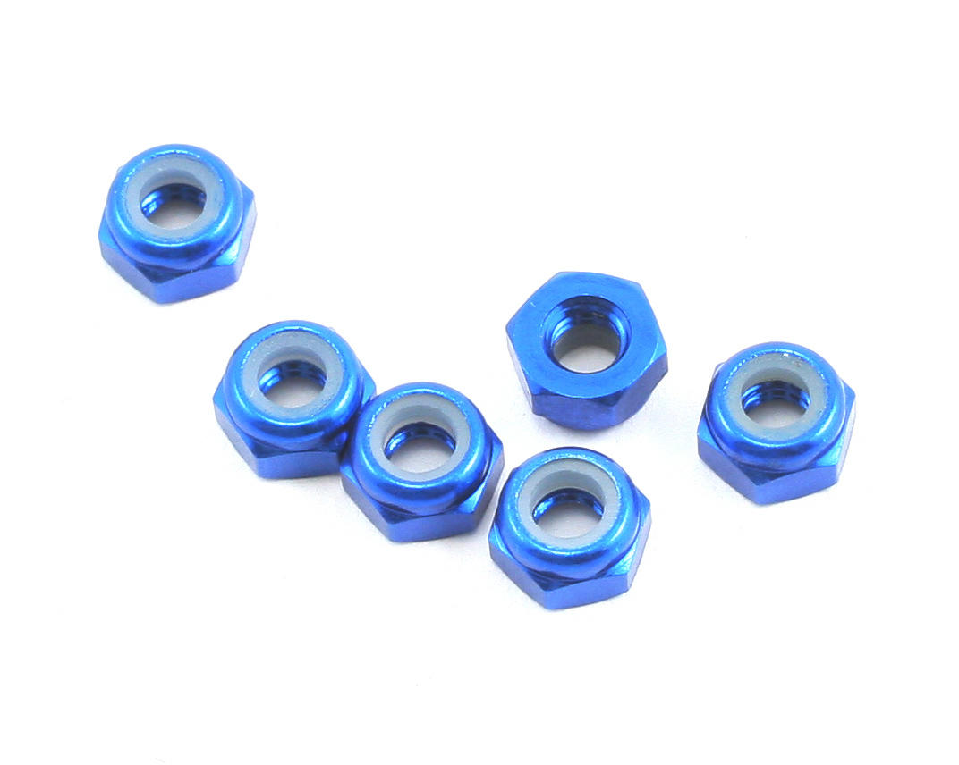 Team Associated TC6.1 3mm Aluminum Factory Locknut (6)