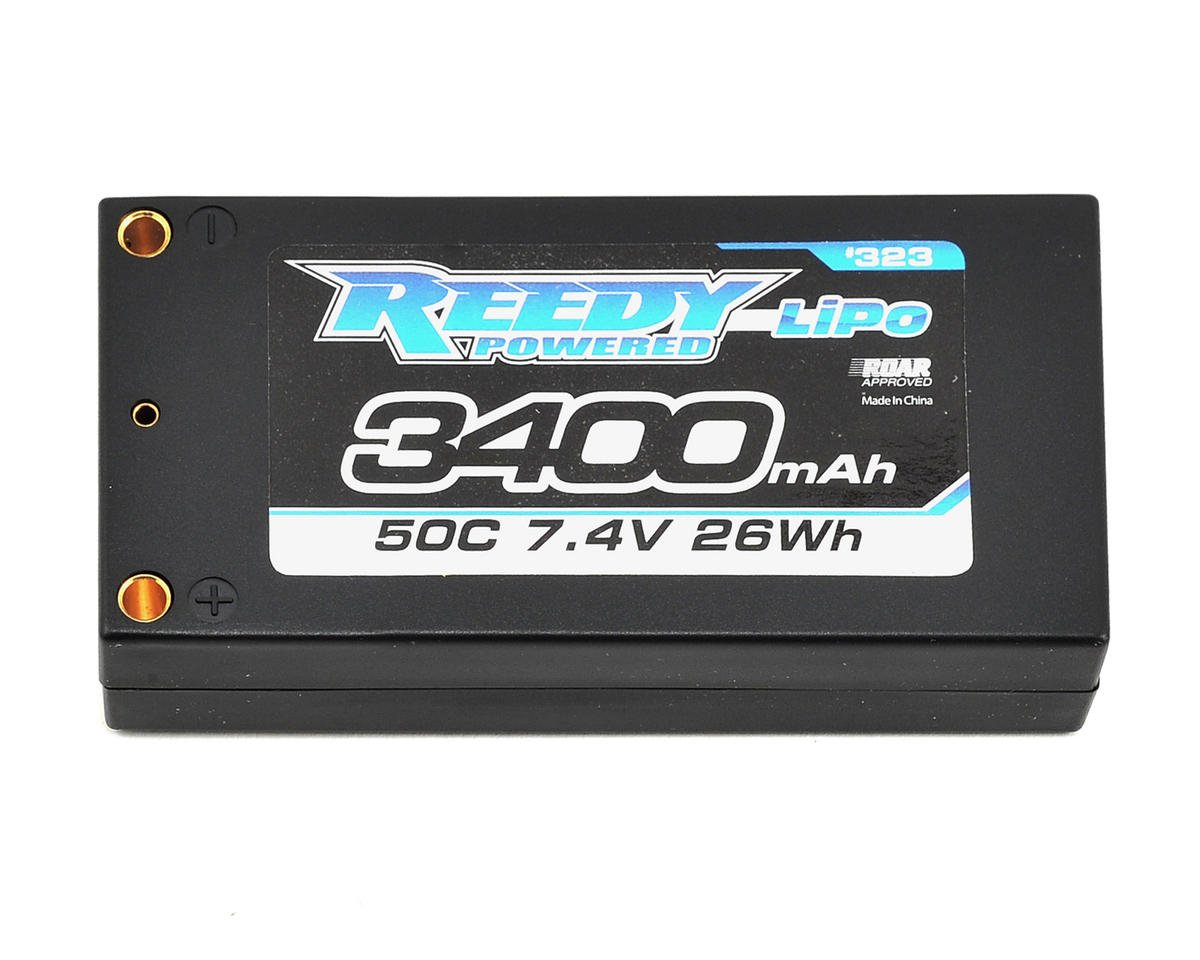 Reedy 2S Low Profile Hard Case LiPo Shorty Battery Pack 50C (7.4V/3400mAh) (Team Associated RC10 T4.1)