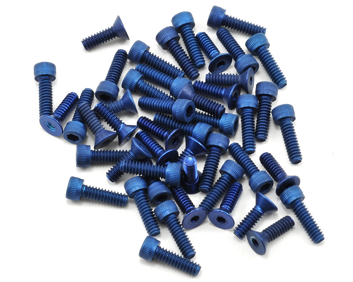 Team Associated Factory Team Aluminum Screw Kit (Blue) (TC3)