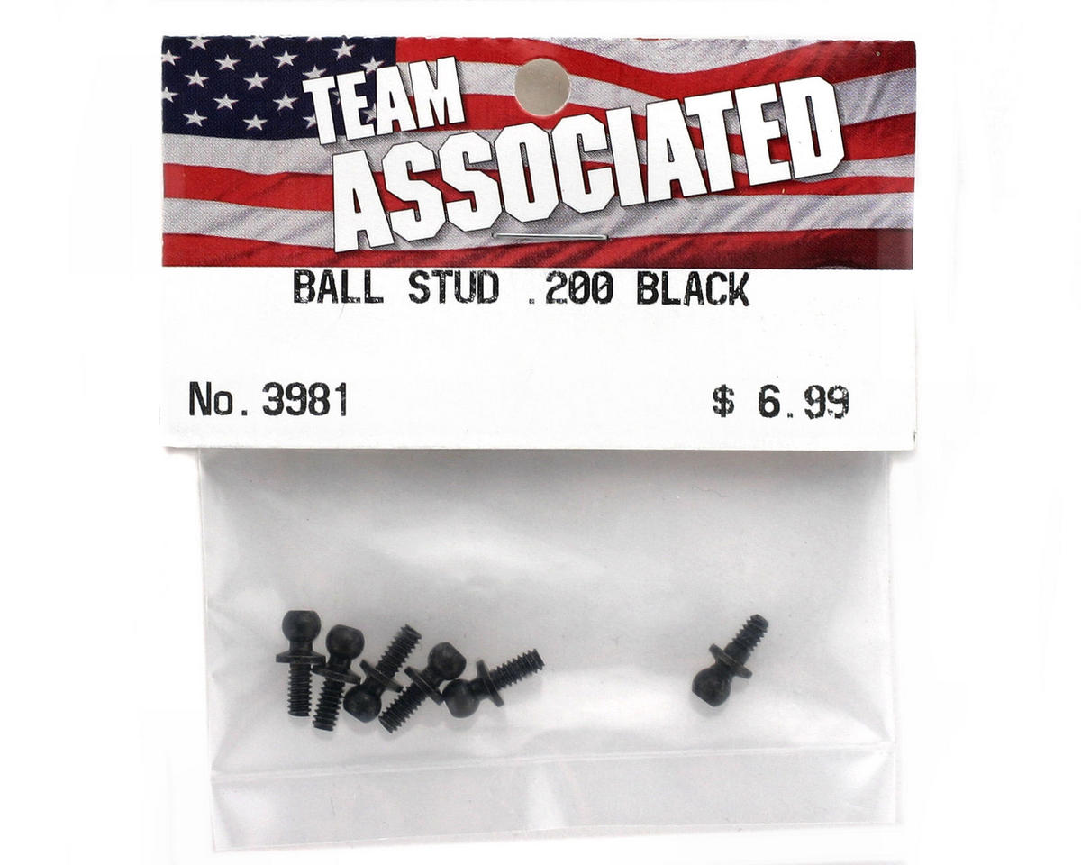 "Team Associated .200"" Ball Stud (Black) (6)"