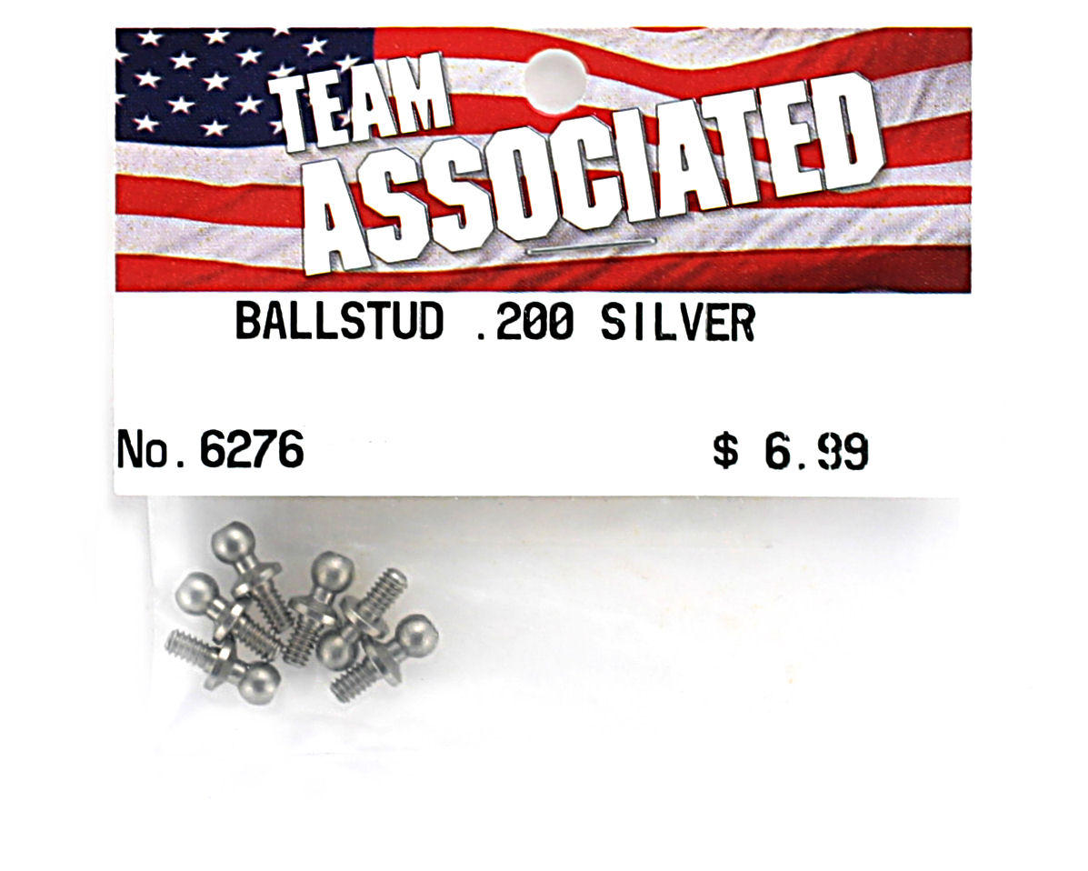 """.200"""" Ball Stud (Silver) (6) by Team Associated"""