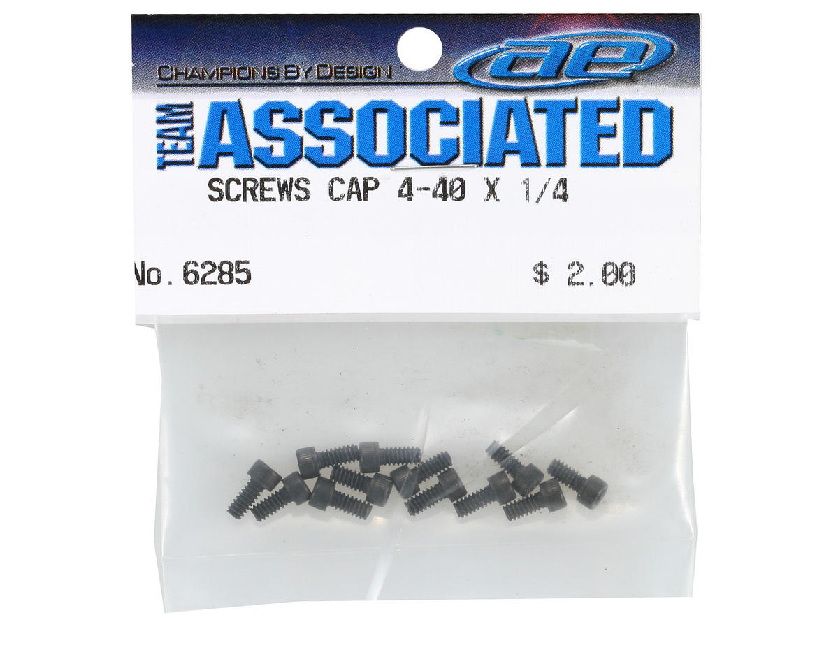 "Team Associated Screws, Socket Head Steel 4-40x1/4"" (12)"