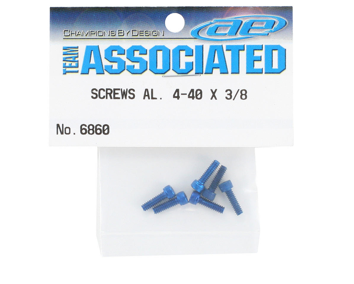 "Team Associated 4-40 x 3/8"" Aluminum Screw (6) (Blue)"